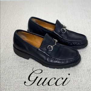 GUCCI MEN'S SIZE 8 BLACK LOAFERS